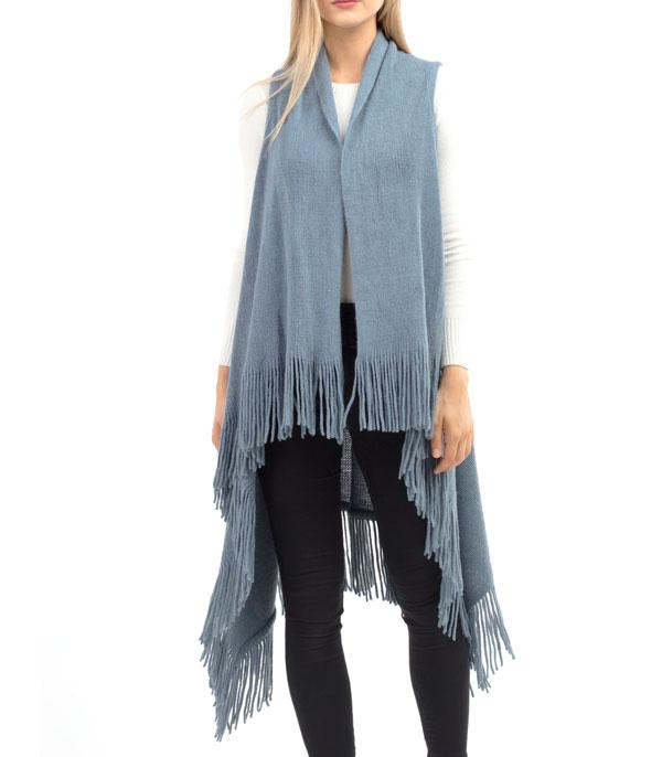 New Arrival :: Wholesale Solid Fringe Knit Vest
