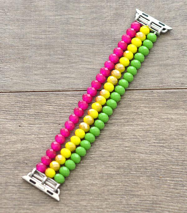 <font color=Green>FEATURES</font> :: APPLE WATCH BAND :: Wholesale Glass Bead Stretch Apple Watch Band