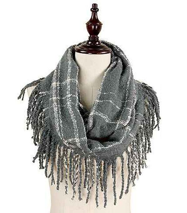 SCARVES / PONCHO :: INFINITY :: Wholesale Two Tone Plaid Infinity Scarf