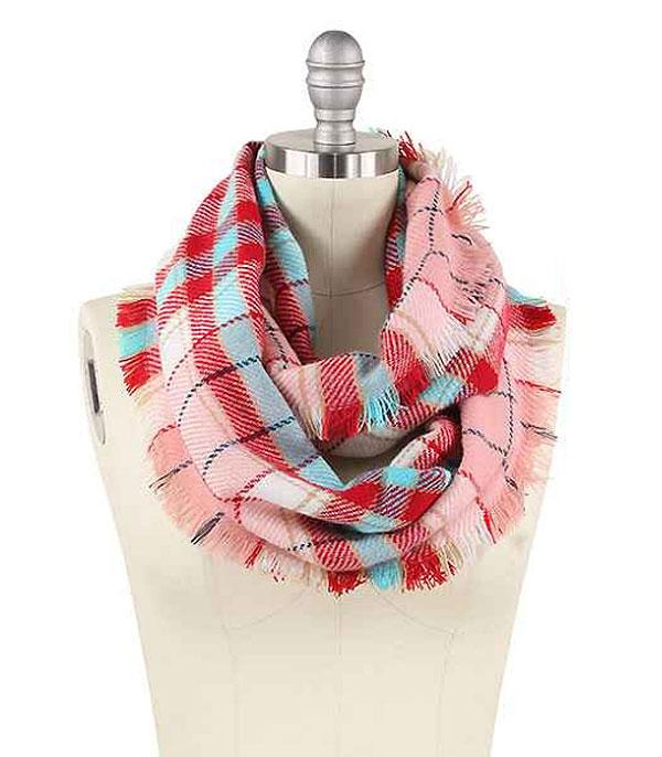 SCARVES / PONCHO :: INFINITY :: Wholesale Plaid Infinity Scarf