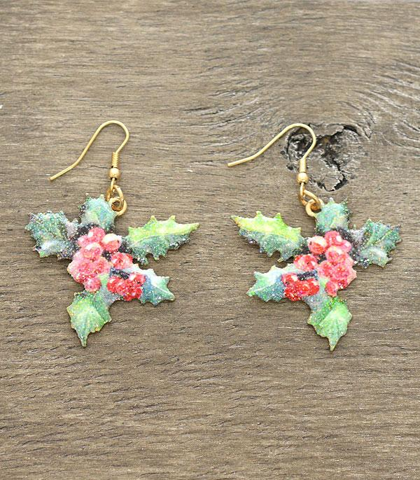 New Arrival :: Wholesale Mistletoe Christmas Glitter Earrings