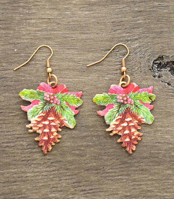 New Arrival :: Wholesale Pine Cone Christmas Earrings