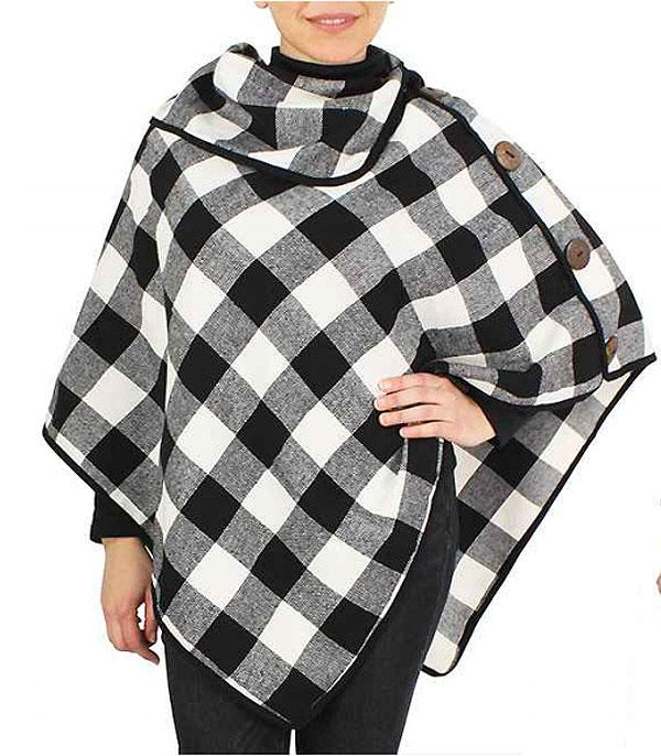 SCARVES / PONCHO :: PONCHO | VEST :: Wholesale Buffalo Plaid Cowl Neck Poncho