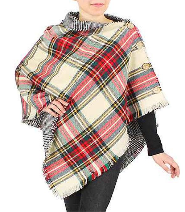 SCARVES / PONCHO :: PONCHO | VEST :: Wholesale Double Side Plaid Poncho
