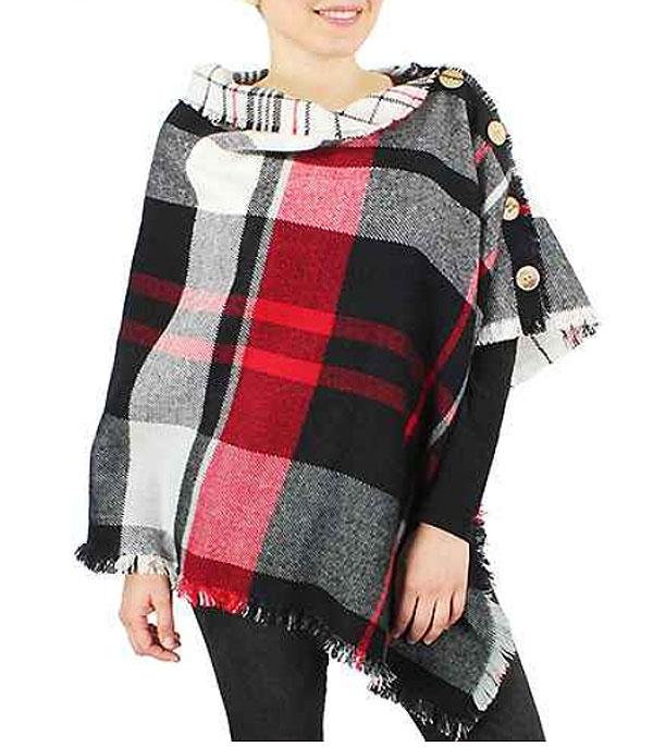 New Arrival :: Wholesale Double Side Plaid Poncho