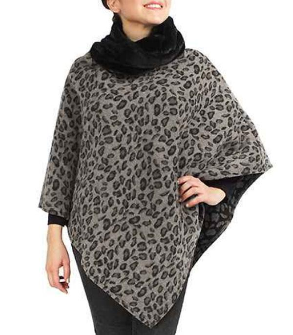 New Arrival :: Wholesale Fur Cowl Neck Leopard Poncho