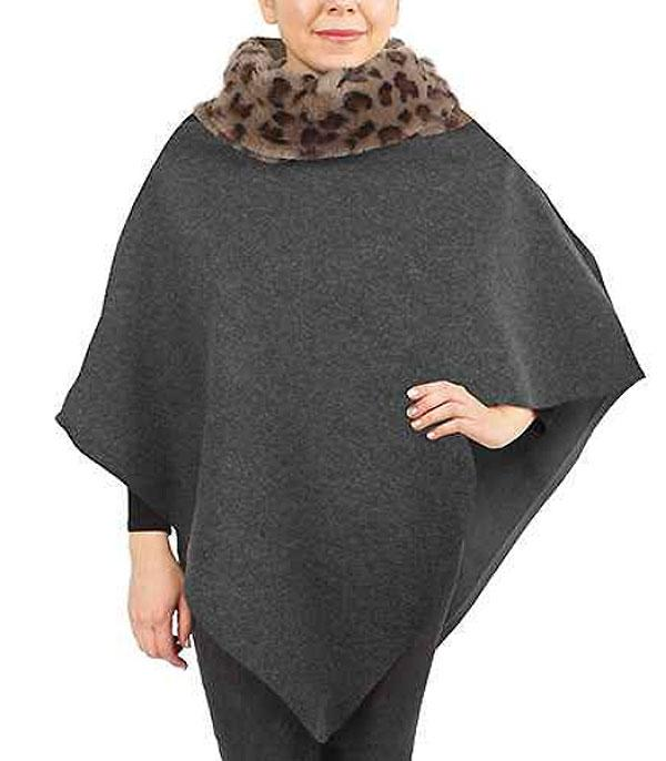 New Arrival :: Wholesale Soft Leopard Cowl Neck Poncho
