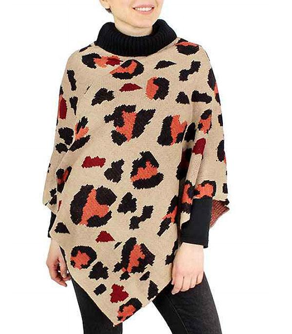 New Arrival :: Wholesale Leopard Print Knit Poncho