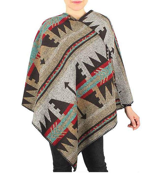New Arrival :: Wholesale Western Aztec Patter Poncho