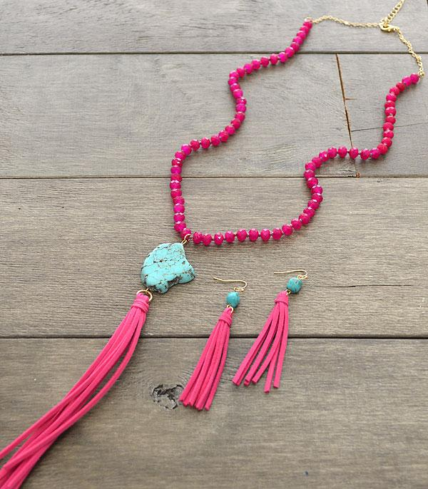 New Arrival :: Wholesale Turquoise Stone Tassel Necklace Set