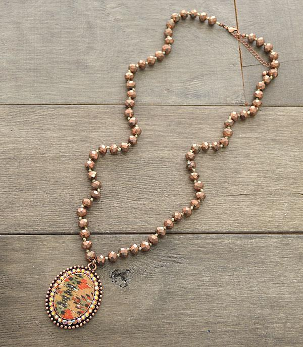 New Arrival :: Wholesale Aztec Pendant Glass Bead Necklace