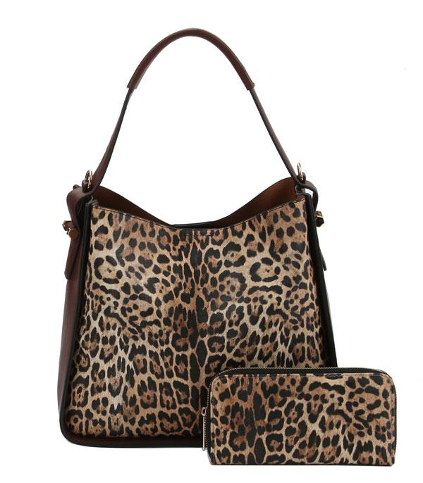 WHAT'S NEW :: Wholesale Leopard Print Hobo Wallet Set Bag
