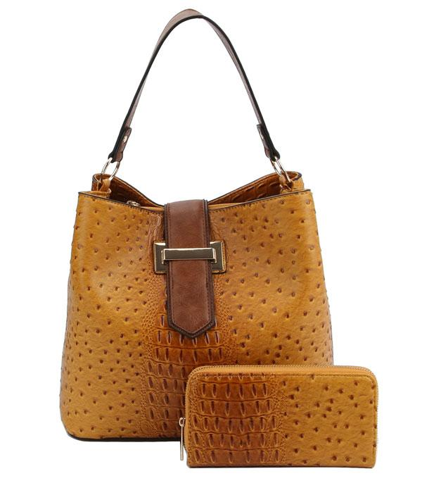 WHAT'S NEW :: Wholesale Ostrich Croc Faux Leather Hobo Set Bag