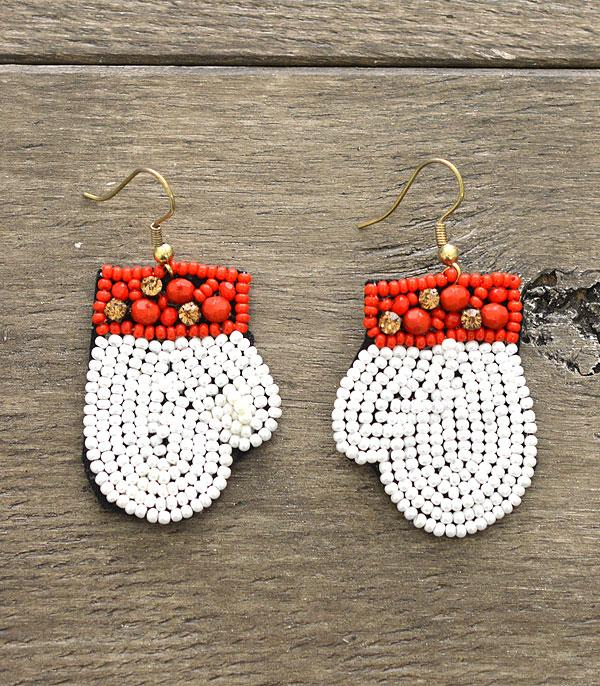 New Arrival :: Wholesale Christmas Glove Seed Bead Earrings