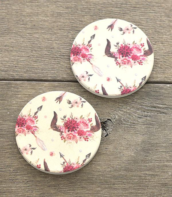New Arrival :: Wholesale Floral Steerhead Car Coaster Set