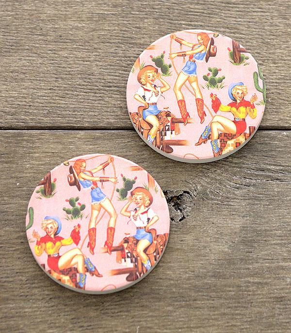 New Arrival :: Wholesale Western Cowgirl Car Coaster Set