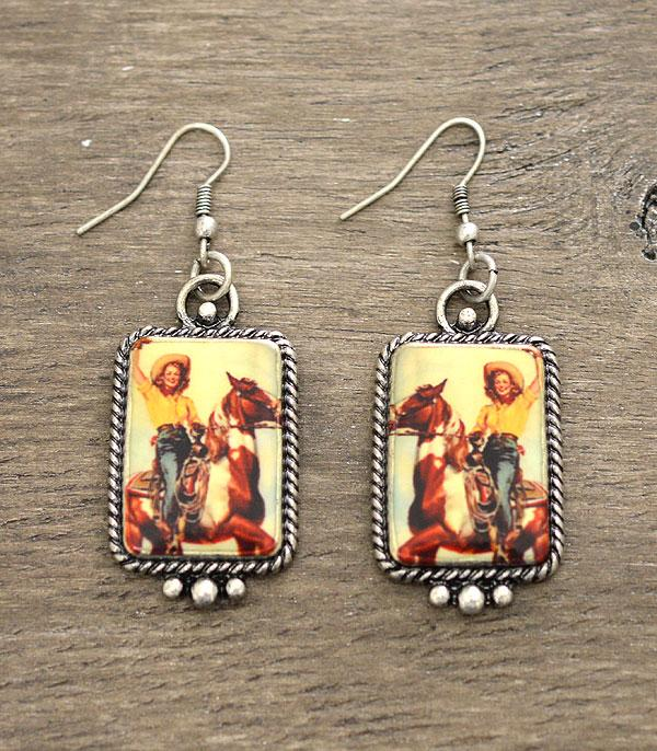 New Arrival :: Wholesale Vintage Cowgirl Portrait Earrings