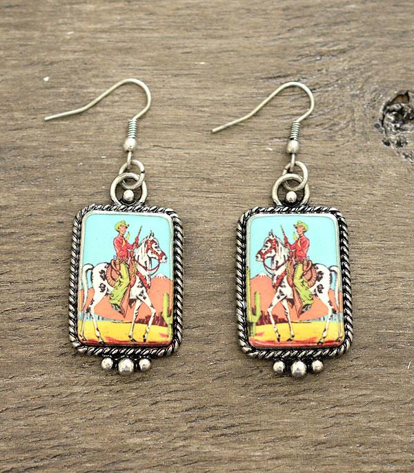 New Arrival :: Wholesale Western Cowboy Portrait Earrings