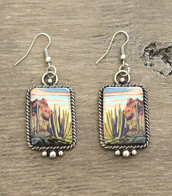 New Arrival :: Wholesale Cactus Desert Portrait Earrings