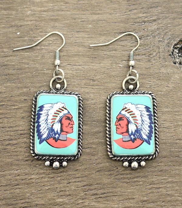 New Arrival :: Wholesale Indian Chief Portrait Earrings