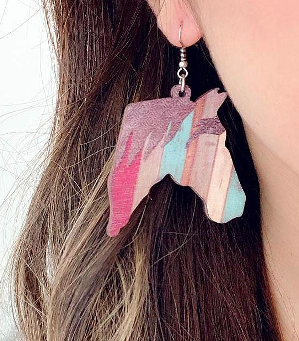 New Arrival :: Wholesale Horse Wood Earrings