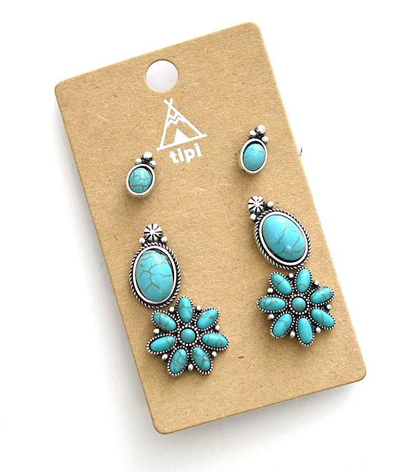 New Arrival :: Wholesale Turquoise Stud Set Earrings