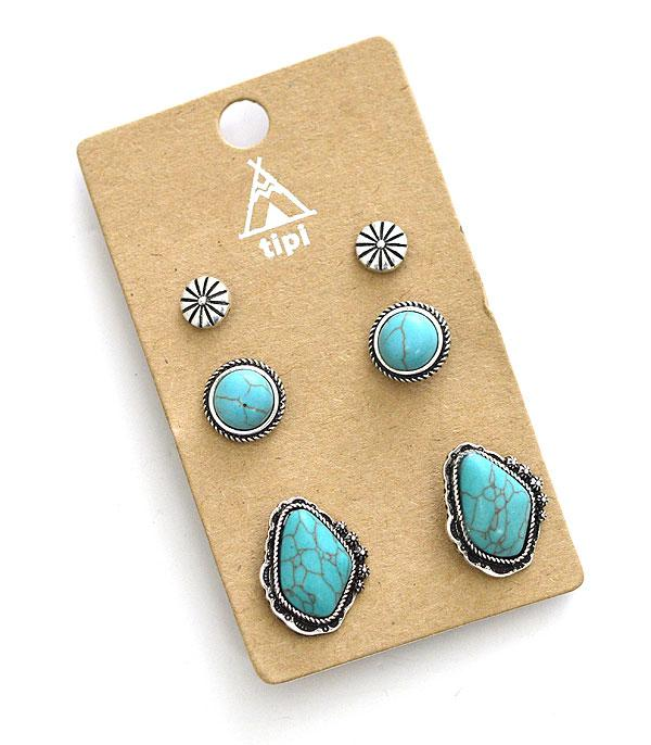 <font color=Turquoise>TURQUOISE JEWELRY</font> :: Wholesale Turquoise Stud Set Earrings