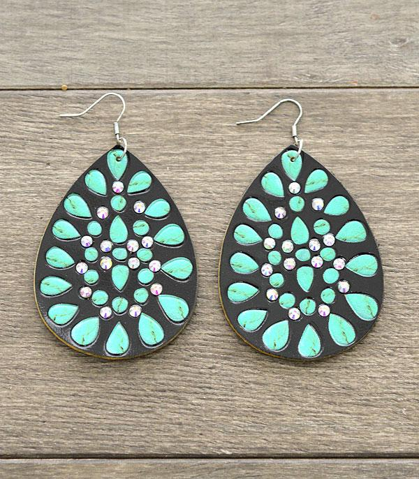 New Arrival :: Wholesale Genuine Leather Tear Drop Earrings