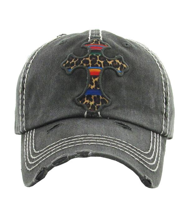New Arrival :: Wholesale Serape Leopard Cross Vintage Ballcap