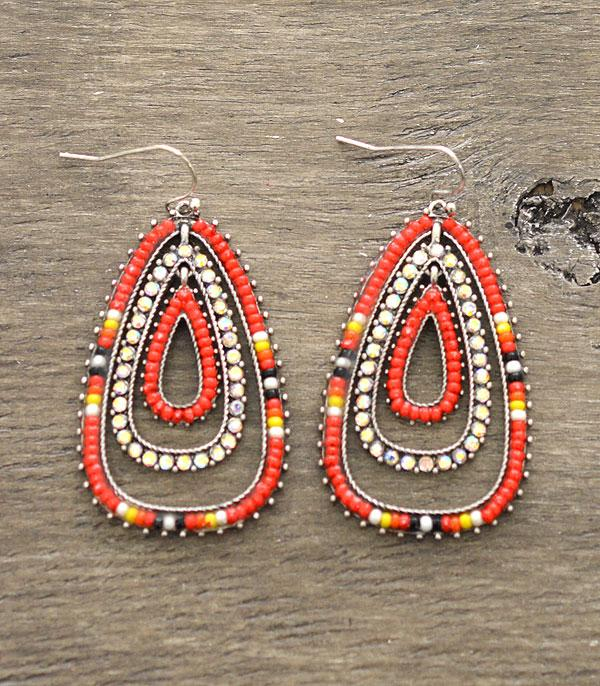New Arrival :: Wholesale Tear Drop Seed Bead Earrings
