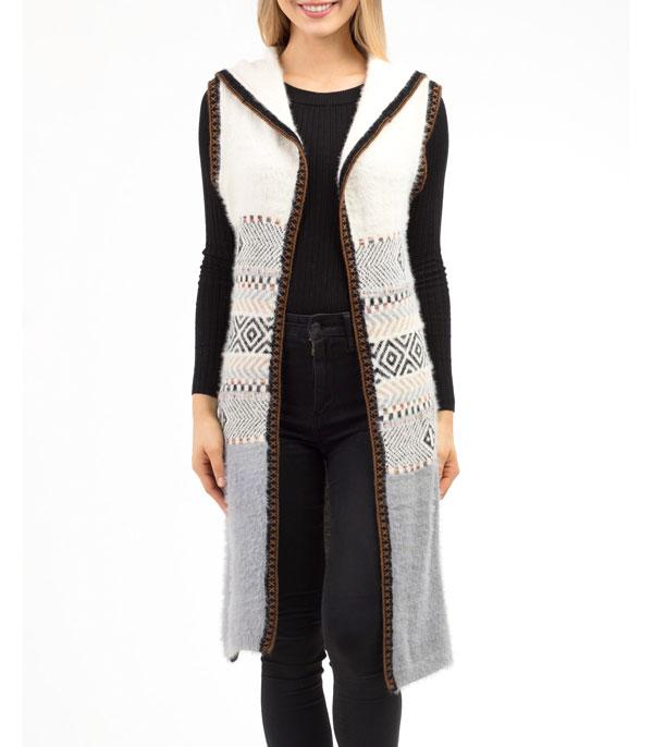 New Arrival :: Wholesale Geometric Hoodie Knit Long Vest