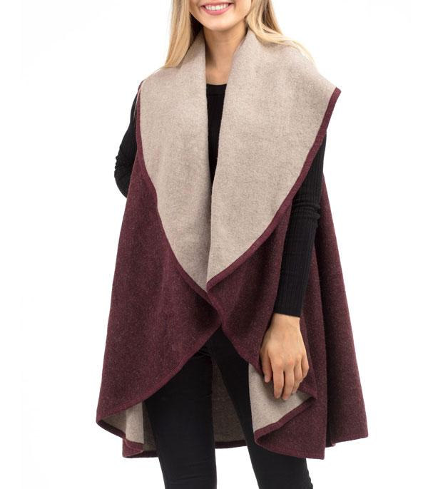 New Arrival :: Wholesale Two Tone Reversible Shawl Vest