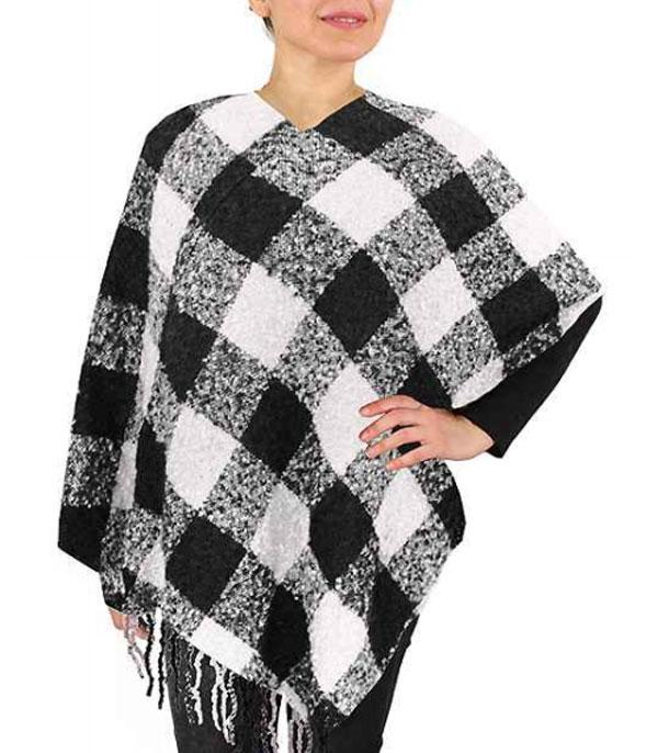 New Arrival :: Wholesale Buffalo Check Poncho w/Fringe