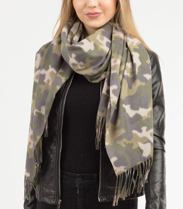New Arrival :: Wholesale Soft Camo Cashmere Feel Scarf