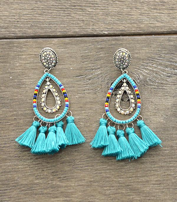 New Arrival :: Wholesale Seed Beaded Tassel Earrings