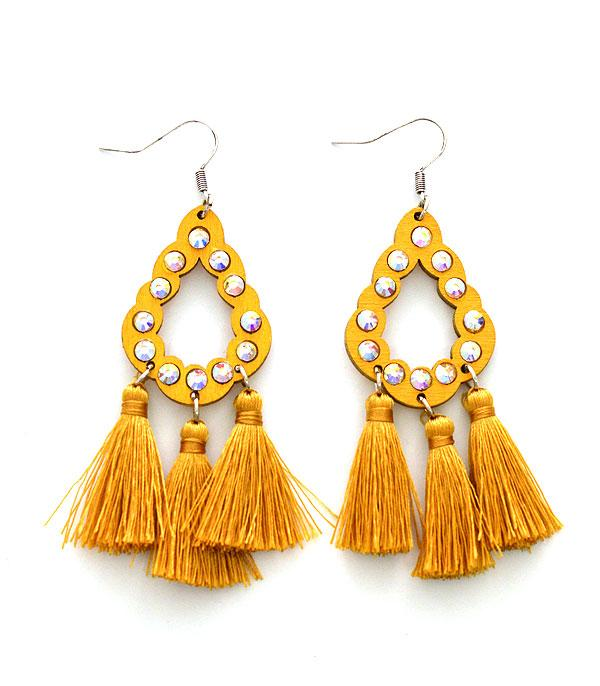 WHAT'S NEW :: Wholesale Wood Stone Tassel Earrings