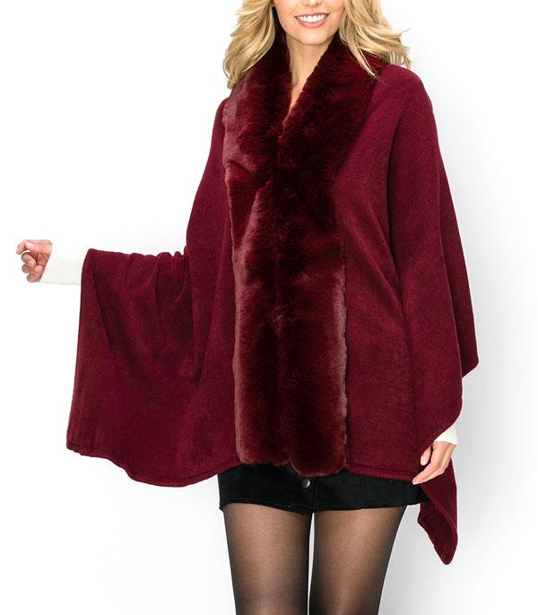 New Arrival :: Wholesale Soft Faux Fur Trim Poncho
