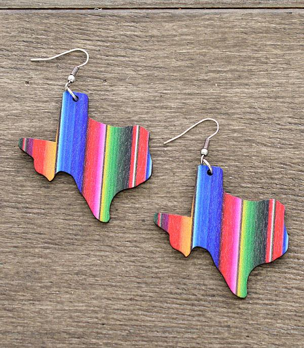 New Arrival :: Wholesale Serape Texas Map Earrings