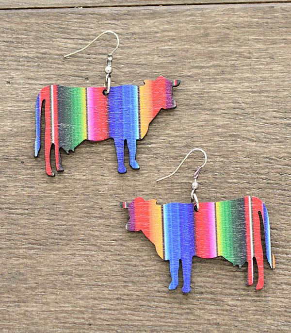 New Arrival :: Wholesale Serape Cow Wood Earrings