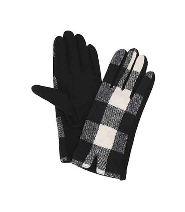 GLOVES/ARM WARMERS :: Wholesale Buffalo Plaid Smart Touch Gloves