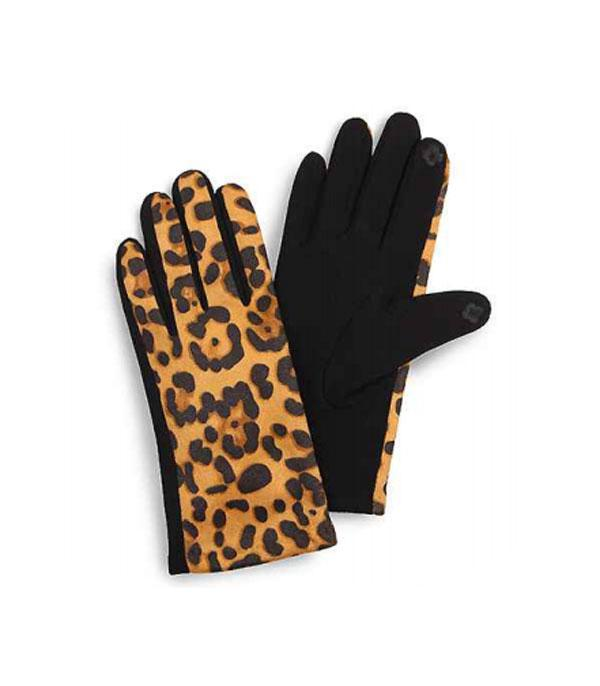 GLOVES/ARM WARMERS :: Wholesale Leopard Print Smart Touch Gloves
