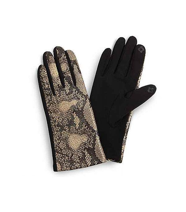 GLOVES/ARM WARMERS :: Wholesale Snake Skin Print Smart Touch Gloves