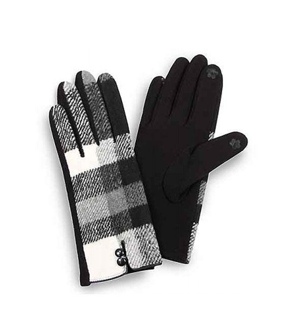GLOVES/ARM WARMERS :: Wholesale Plaid Smart Touch Gloves