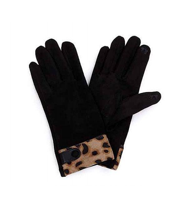 GLOVES/ARM WARMERS :: Wholesale Leopard Trim Smart Touch Gloves