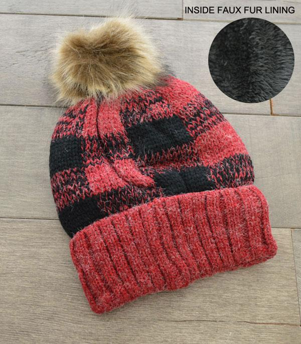 New Arrival :: Wholesale Buffalo Plaid Fur Lining Beanie