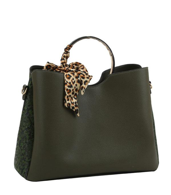 New Arrival :: Wholesale Leopard Scarf Round Top Satchel