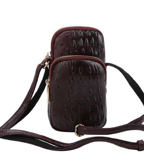 New Arrival :: Wholesale Ostrich Croc Cellphone Crossbody Bag