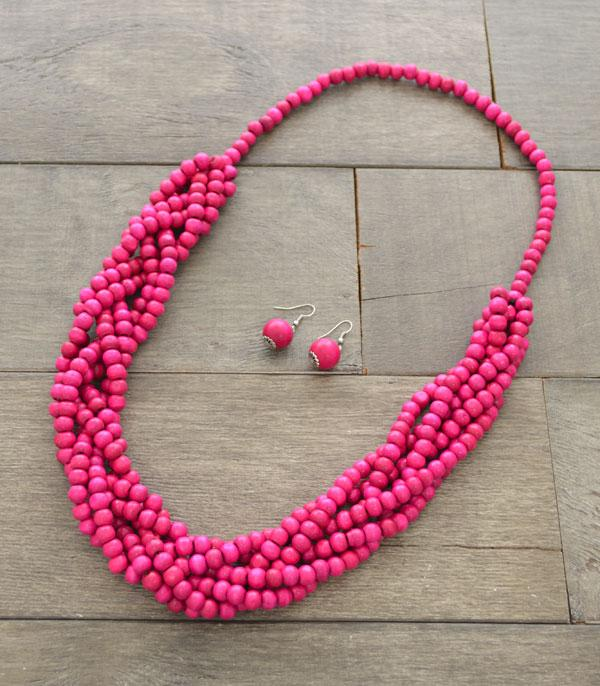 New Arrival :: Wholesale Knotted Wood Beads Necklace Set
