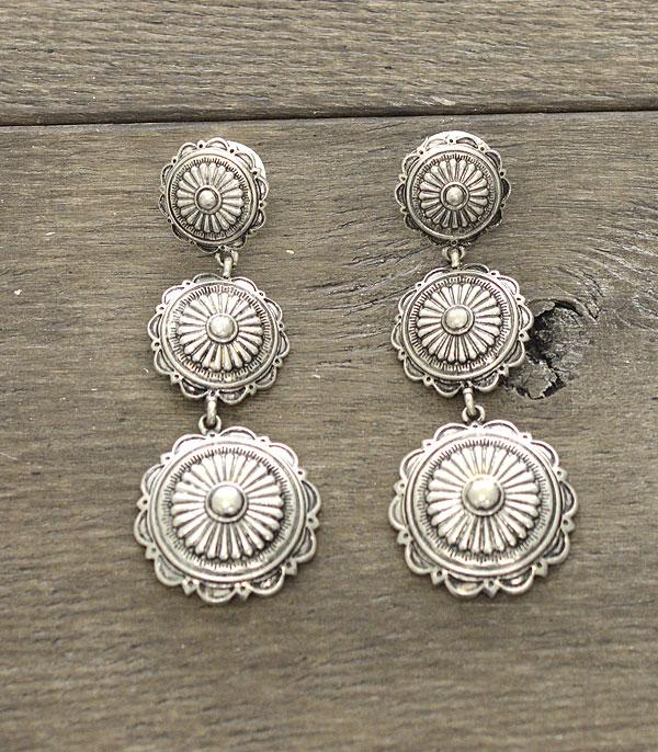 New Arrival :: Wholesale Western Concho Silver Earrings