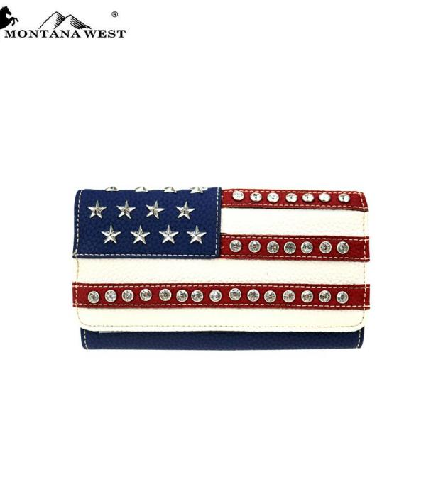 <font color=BLUE>RED,WHITE, AND BLUE</font> :: Wholesale Montana West American Pride Wallet